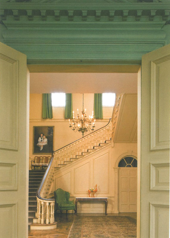 View of the Stair Hall, from just inside the Dining Room. Image courtesy of the Trustees of Reservations.