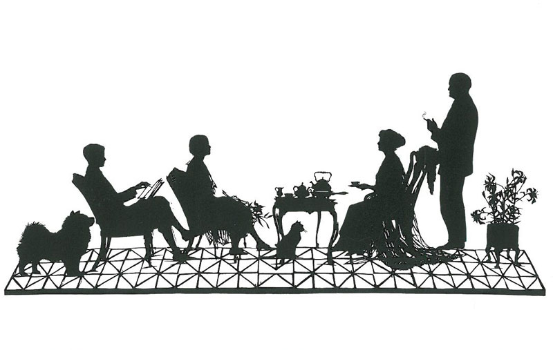 On the north wall of Mr. Crane's bedroom: an original 1926 paper silhouette portrait of his family--pets and all--made by Evelyn Maydell. This is completely charming!