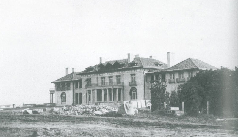 Northeast-facing, oceanside elevation of the Crane's Original Italian Villa, in 1911, before landscaping to the rear of the House was done. Image courtesy of the Trustees of Reservations, Archives & Research Center.