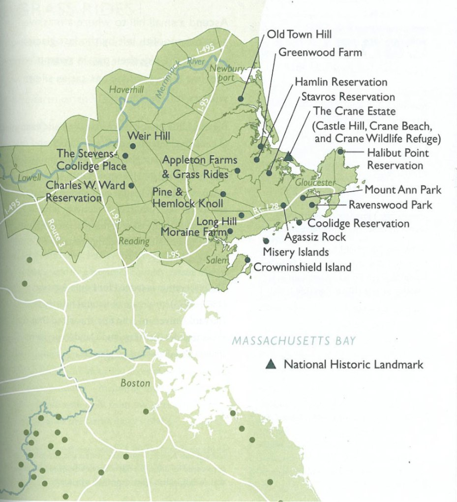 Map of the Northeast Massachusetts holdings of the Trustees of Reservations. The Crane Estate, marked with a triangle, is also a National Historic Landmark. Image courtesy of the Trustees of Reservations.