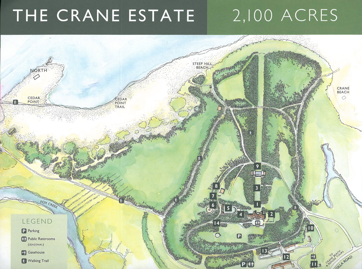 Map of the Crane Estate. Image courtesy of the Trustees of Reservations.