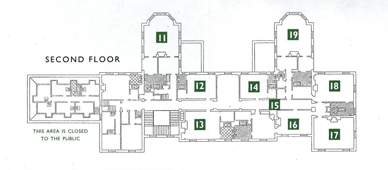 The Second Floor rooms of the Great House. 11-Son Cornelius' bedroom suite. 12-Oak Guest Room. 13-Apricot Guest Room. 14-Chinese Guest Room. 15-Second Floor's Main Hallway. 16-Mrs.Florence Crane's bedroom suite. 17-Family Sitting Room. 18-Mr.Richard T. Crane Junior's bedroom. 19-Daughter Florence Crane's bedroom suite.