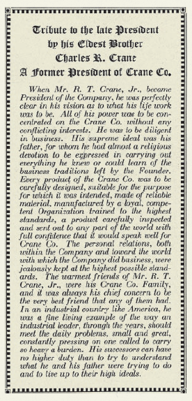 Charles Crane's tribute to his brother. Image courtesy of CRANE: 150 YEARS TOGETHER, published by the Crane Company.