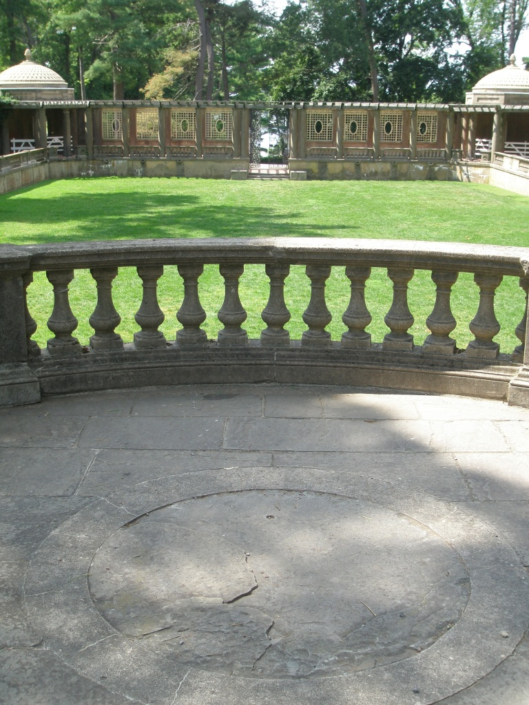 A broad balcony overlooks the Italian Garden. During the Cranes' tenure--and despite the Italian style of the garden's structure--the annuals and perennials that were grown here were traditional American favorites (larkspur, Canterbury bells, Madonna lilies), but limited to those plants whose flower colors would cooperate with Mrs. Crane's scheme of white, blue and pink.