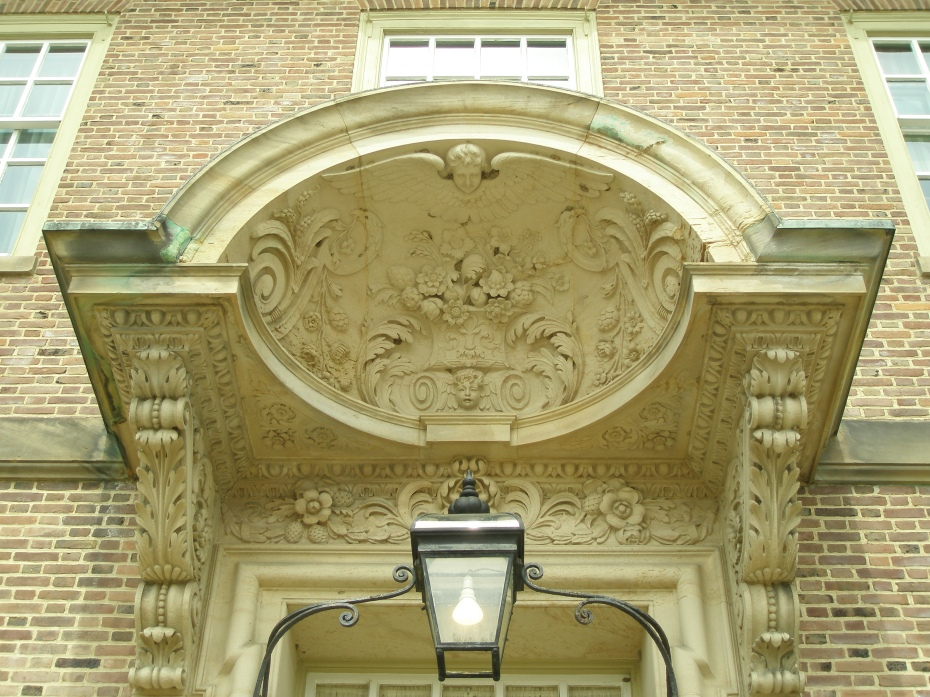 Detail of front door's canopy