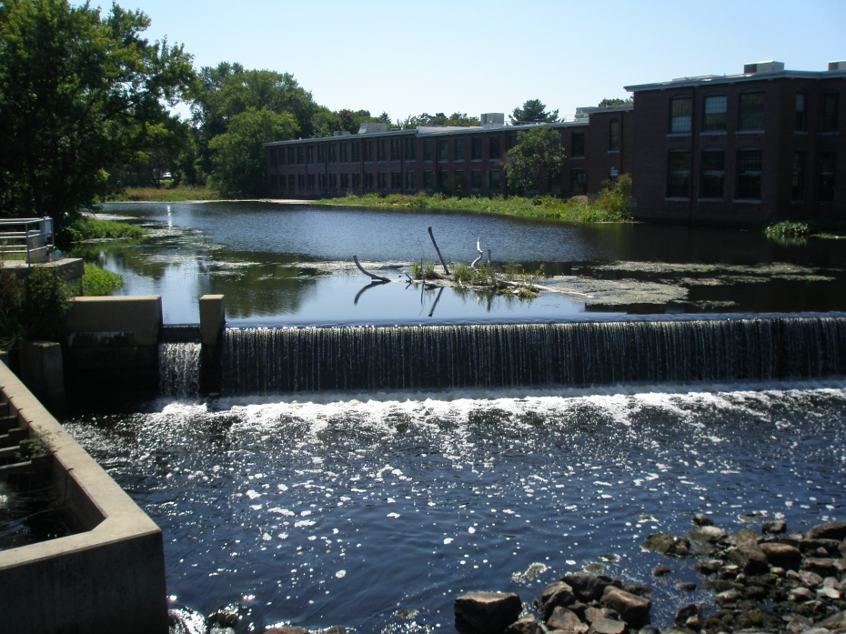 The Falls, on the Ipswich River, with old mill buildings on the far banks of the River.