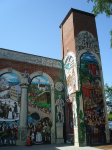 A portion of Alan Pearsall's mural