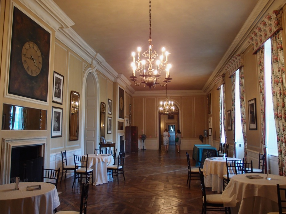 The Gallery, looking toward the Great House's Stair Hall, and the Dining Room wing. New curtains duplicate the look of the English chintz that Mrs.Crane had hung here, and the parquet flooring has been refurbished.