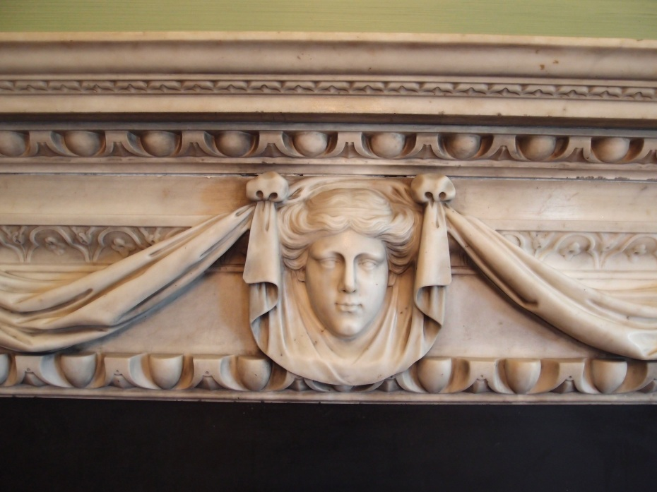 """The marble mantle is based on a design by 17th century English architect Inigo Jones (born 1573, died 1652). Inigo Jones is most renowned for his design of the Queen's House, at Greenwich (which I wrote about and photographed for my Diary entitled """"The Great Canopy of London's Skies; Getting Older in Greenwich"""")"""