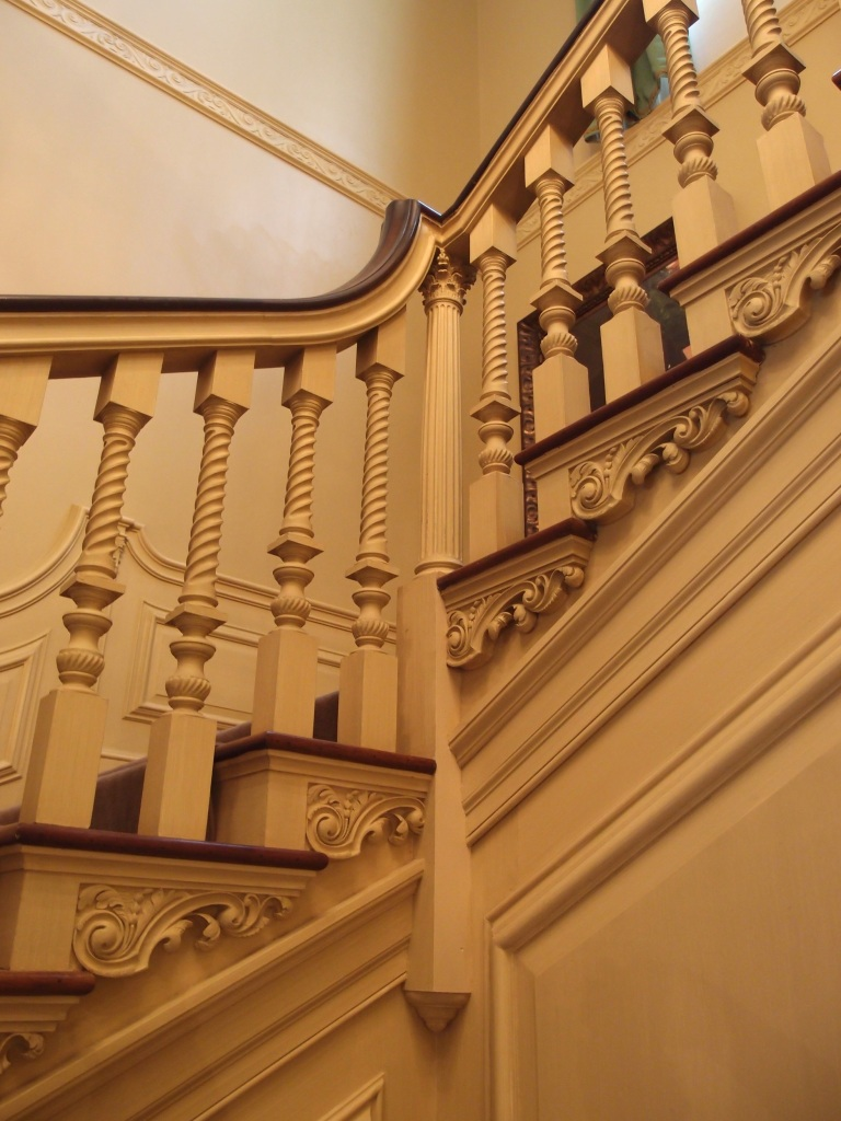 The stairway was modeled upon stairs in a 1732, London townhouse.