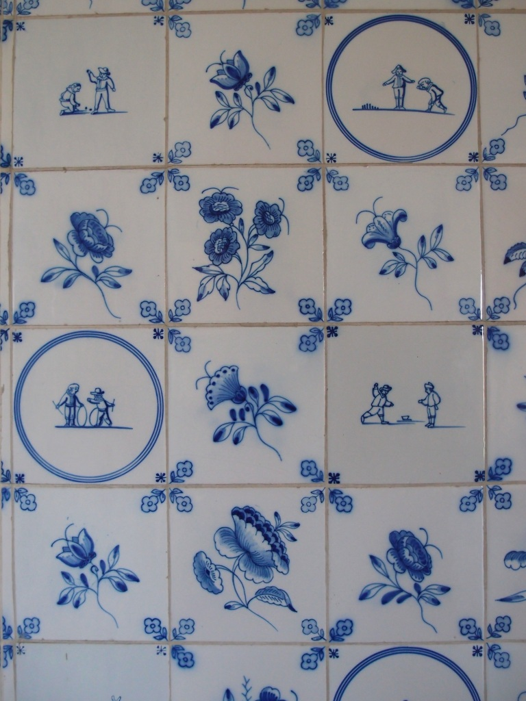 Detail of tiled wall in Cornelius' bathroom.