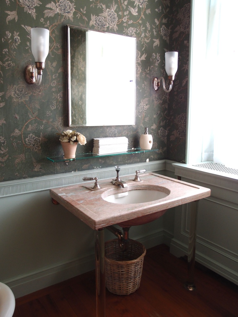 The marble sink counter in the Apricot Guest Room's bathroom. This room, which faces southwest, has abundant, natural light.