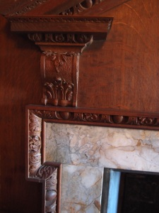 Detail of Oak Guest Room's fireplace surround