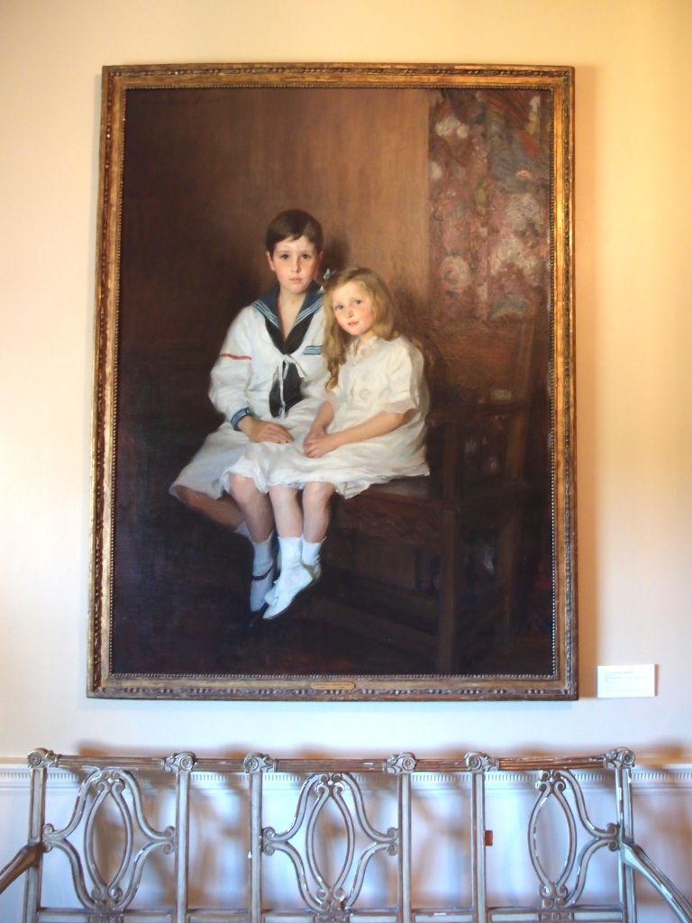 Halfway along the second floor's main hallway is a large, light-filled sitting room, which overlooks the Grand Allee, and the Atlantic Ocean. This portrait of the Crane children is currently hung here. The painting was done is 1914, by Lydia Field Emmet, who maintained studios in New York City, and in Stockbridge, MA.