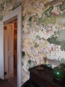 The Chinese Guest Room's walls were originally covered with hand-painted Chinese wallpaper, but those wall coverings were sold at auction, after Mrs. Crane's death. The room has been redecorated with fabric that's in the same style as the original, far more precious wall coverings.