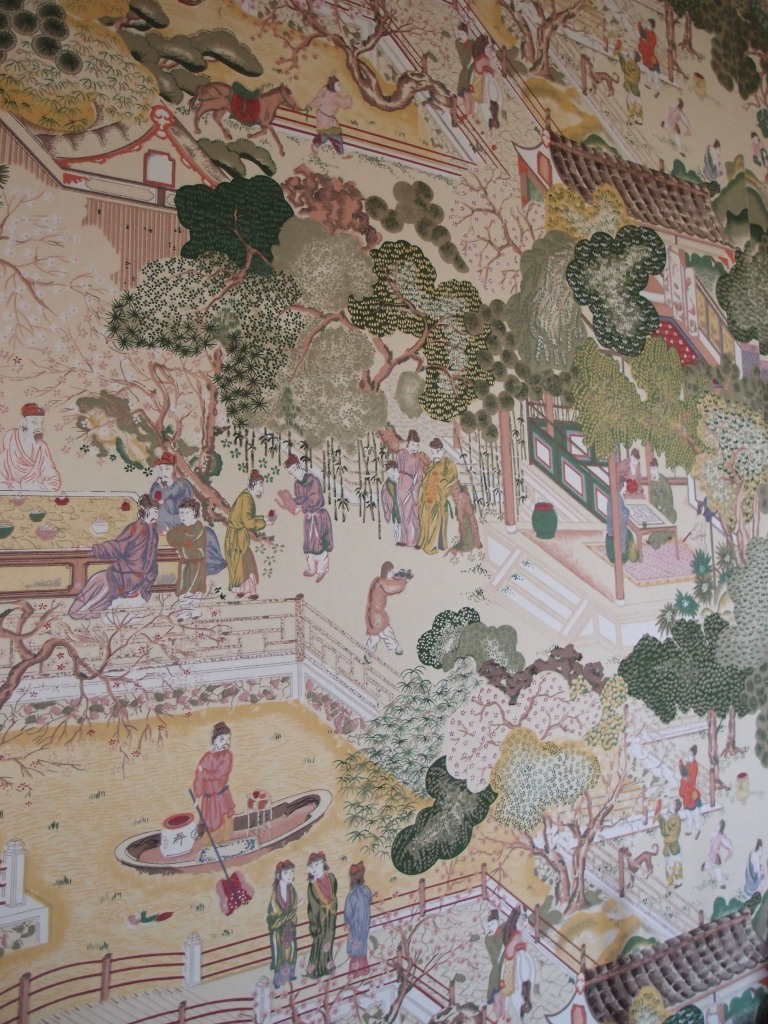 Detail of the very nice replacement wallpaper in the Chinese Guest Room.