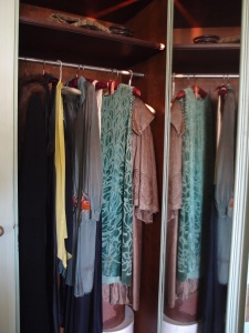 The very small closet in Mrs. Crane's dressing room: with period clothing (not hers) added.