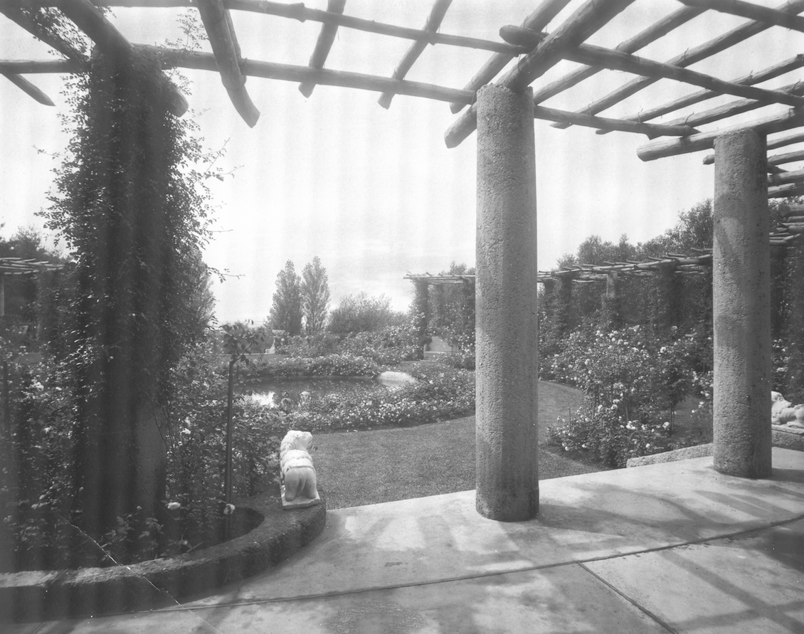 Vintage photo of Rose Garden's pergola, circa 1915. Image courtesy of the Trustees of Reservations, Archives & Research Center