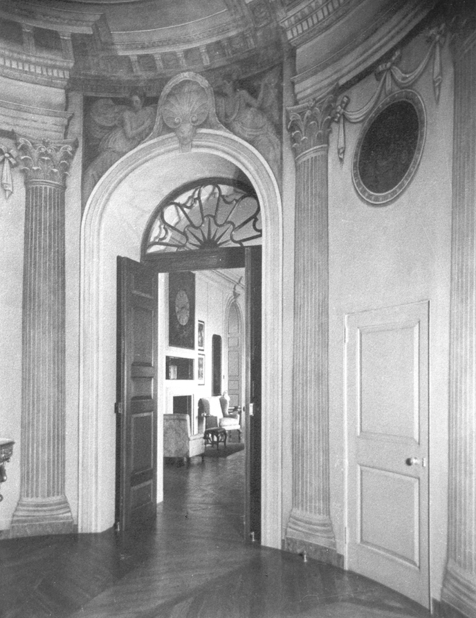 Vintage photo of the Rotunda, as it looked from 1928 until 1949. The Gallery can be glimpsed though the doorway. Image courtesy of the Massachusetts Historical Society.