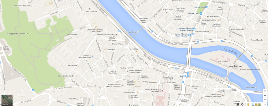 Map of the northern section of Trastevere.