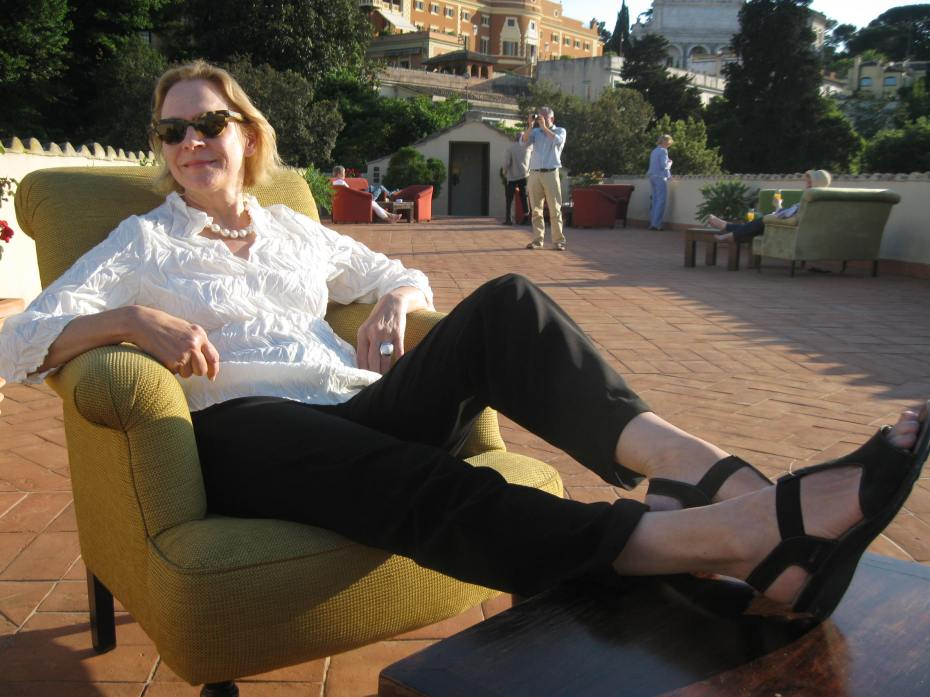 This end-of-trip photo of the Restless Author (taken in late afternoon, on the roof terrace of the Donna Camilla Savelli Hotel, on Saturday May 17, 2014 ) proves that a Rome-Stay CAN indeed be relaxing, instead of exhausting. I'll tell you how to keep calm, while visiting one of the fabulously frantic cities in the World. Photo by Donn Brous.