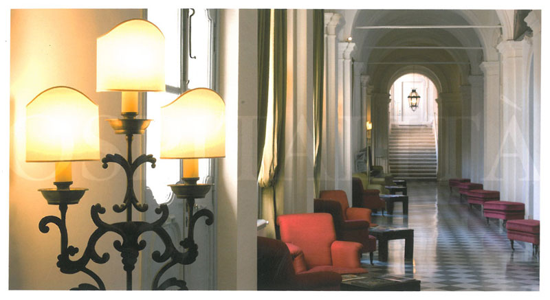 View down the length of the ground floor's Lounge. The Bar & Breakfast Buffet areas are to the right, and doors leading to the Courtyard are to the left. Image courtesy of the Donna Camilla Savelli Hotel.
