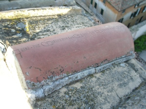 Detail of roof tile...made in Siena.