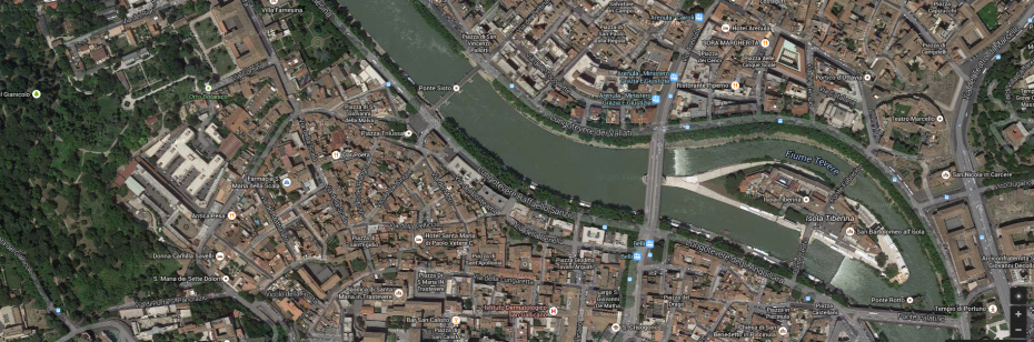 Satellite view of Trastevere's northern section.