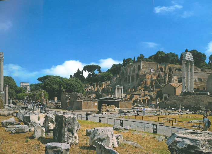 Today's view of where the Temples of Divus Julius, and Castor & Pollux once stood. The Palatine Hill is in the background. Image courtesy of ROME:PAST&PRESENT, by R.A.Staccioli.