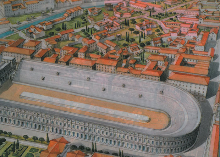 This reconstructed view of Domitian's Stadium is from R.A.Staccioli's ROME:PAST&PRESENT.