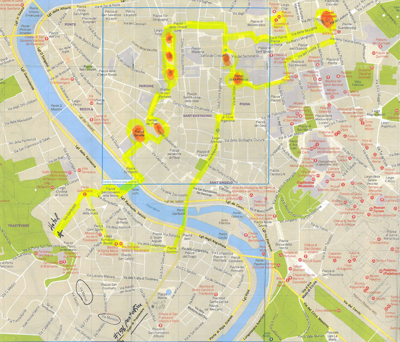 Yellow marks our meandering path, as I led Donn away from Trastevere, and on a loop through Rome's Centro Storico.