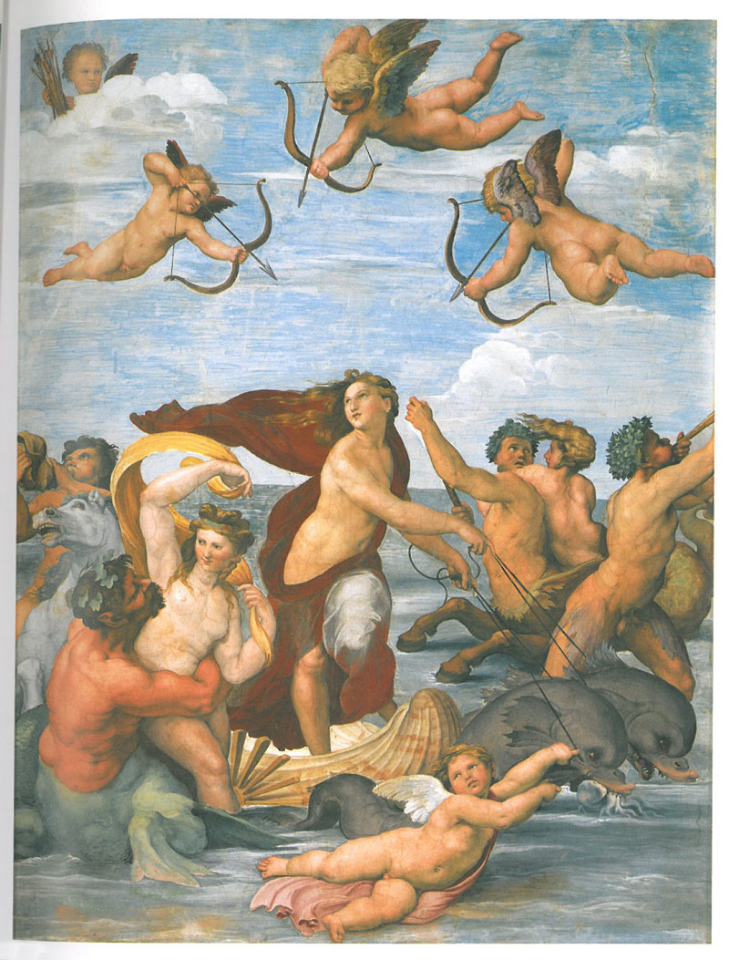An upper wall panel in the Loggia of Galatea. Image courtesy of LA VILLA FARNESINA A ROMA, published by Franco Cosimo Panini.