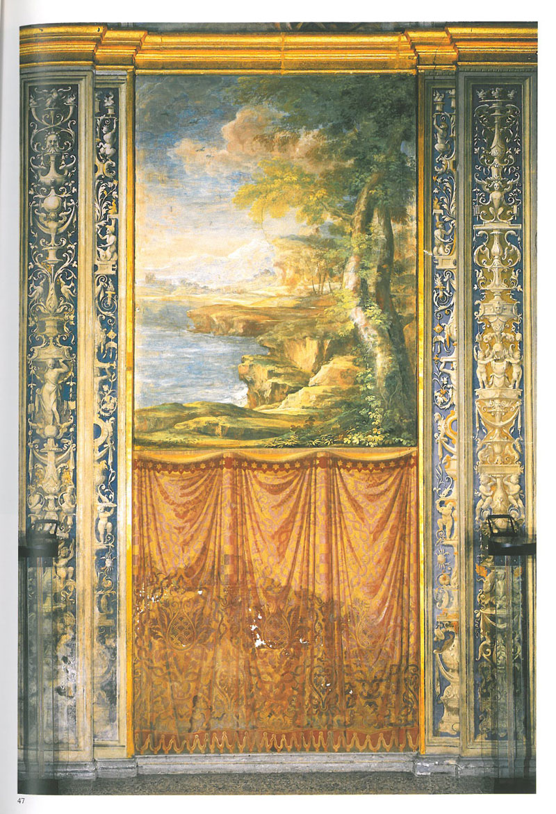 Full height wall fresco, in the Loggia of Galatea. Image courtesy of LA VILLA FARNESINA A ROMA, published by Franco Cosimo Panini.