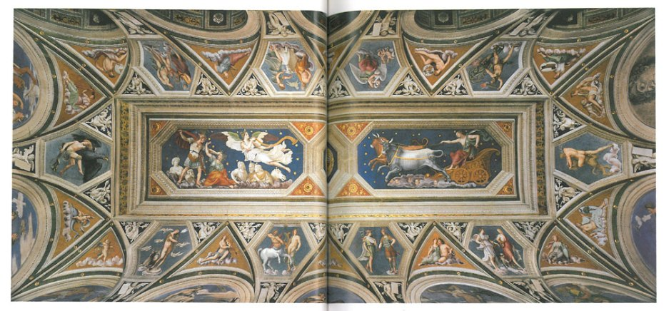 The entire length of the vaulted ceiling in the Loggia of Galatea. Astrology was very important to the man who commissioned the Villa: Augustino Chigi waited to lay the cornerstone of his new house until the planets were favorably aligned. On 22 April 1506--a date thought to mark the anniversary of the founding of Rome--construction of his dream-home began. Image courtesy of LA VILLA FARNESINA A ROMA, published by Franco Cosimo Panini.