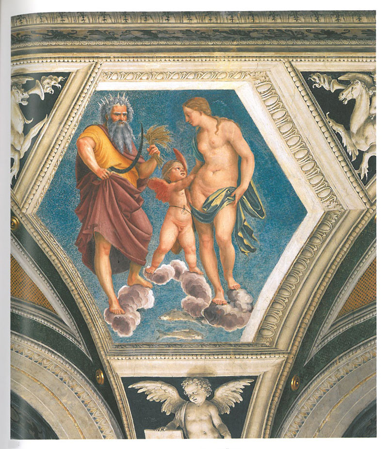 Detail of vaulted ceiling, in the Loggia of Galatea. Image courtesy of LA VILLA FARNESINA A ROMA, published by Franco Cosimo Panini.