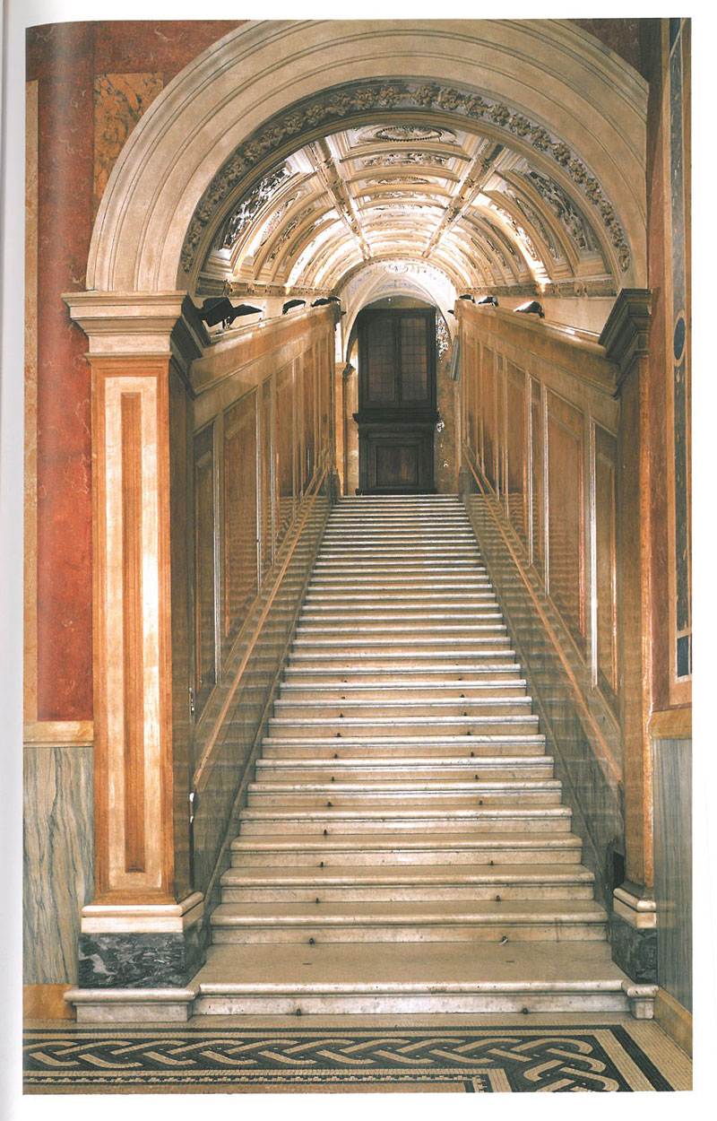Stairs leading to the upper floor. This great flight of steps was restructured in 1861, by Antonio Cipolla. Image courtesy of LA VILLA FARNESINA A ROMA, published by Franco Cosimo Panini.