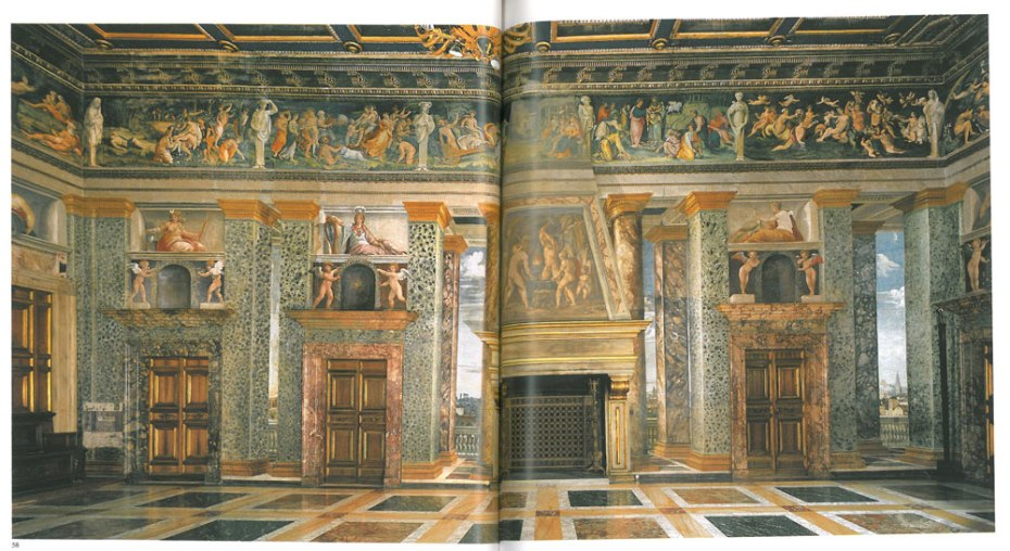 The Hall of Perspective Views: the north wall. This large room was decorated in 1519 by Baldassare Peruzzi. Image courtesy of LA VILLA FARNESINA A ROMA, published by Franco Cosimo Panini.