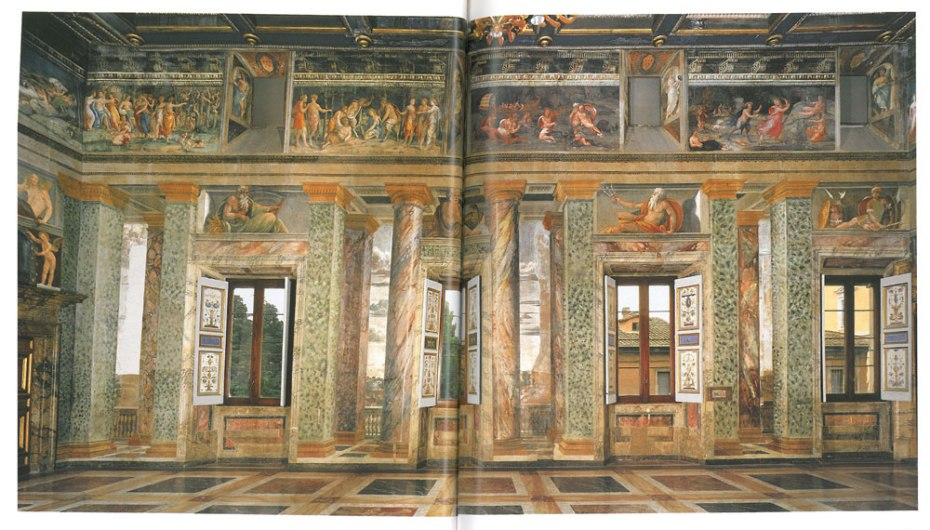The Hall of Perspective Views: the south wall. Image courtesy of LA VILLA FARNESINA A ROMA, published by Franco Cosimo Panini.