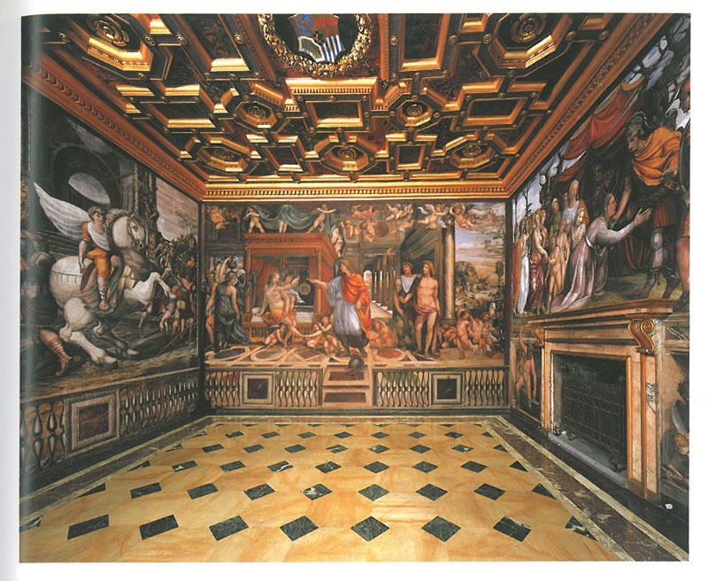 The Room of the Marriage of Alexander the Great & Roxana. Not surprisingly, this sensual space was originally Agostino Chigi's bedchamber. The Sienese painter Giovanni Antonio Bazzi--known as Sodoma--was commissioned to decorate the walls in 1519. Image courtesy of LA VILLA FARNESINA A ROMA, published by Franco Cosimo Panini.