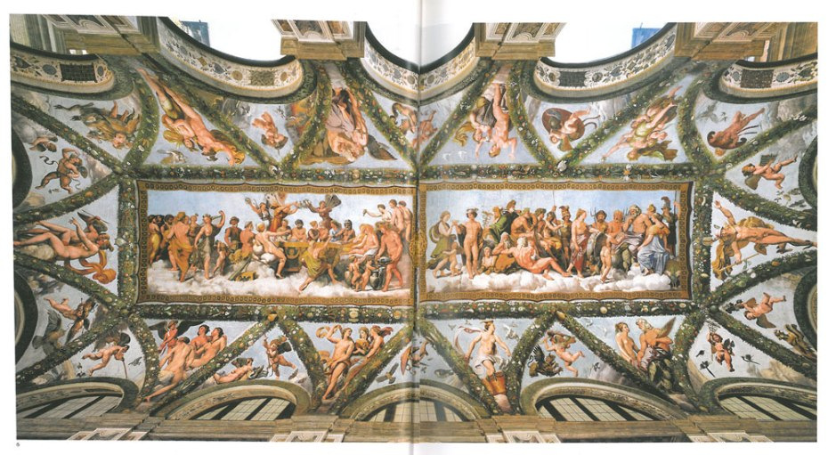 The entire length of the vaulted ceiling in the Loggia of Cupid & Psyche. Image courtesy of LA VILLA FARNESINA A ROMA, published by Franco Cosimo Panini.