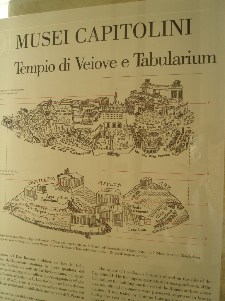 Top illustration: The Tabularium on the Capitoline Hill, as it is today. Lower Illustration: The Capitoline Hill in the times of the Roman Republic & Empire.