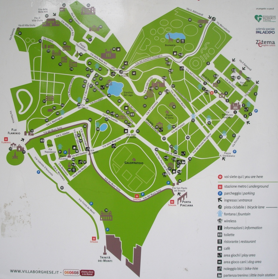 The heart-shaped Map of Villa Borghese's parklands