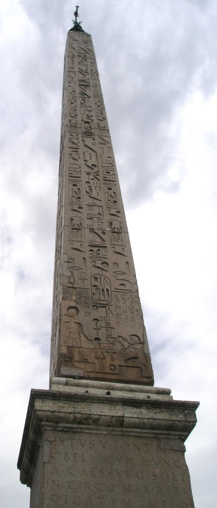 The 78-foot-high Egyptian Obelisk, at the center of Piazza del Popolo.