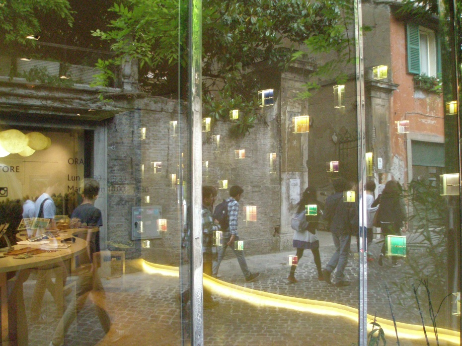 Mesmerizing reflections on the windows of a Via Margutta boutique.
