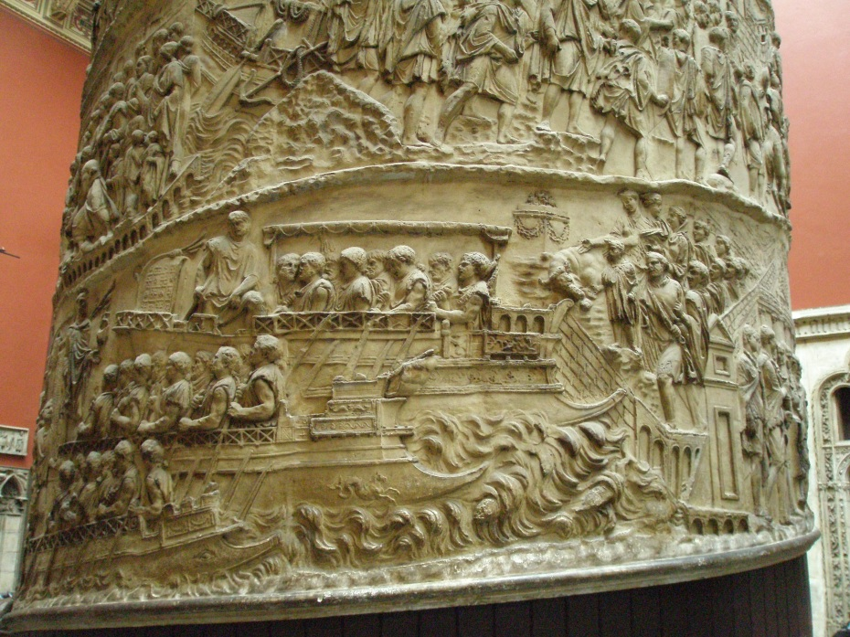 Detail: Bas relief carving on the V&A Cast Court copy of Trajan's Column