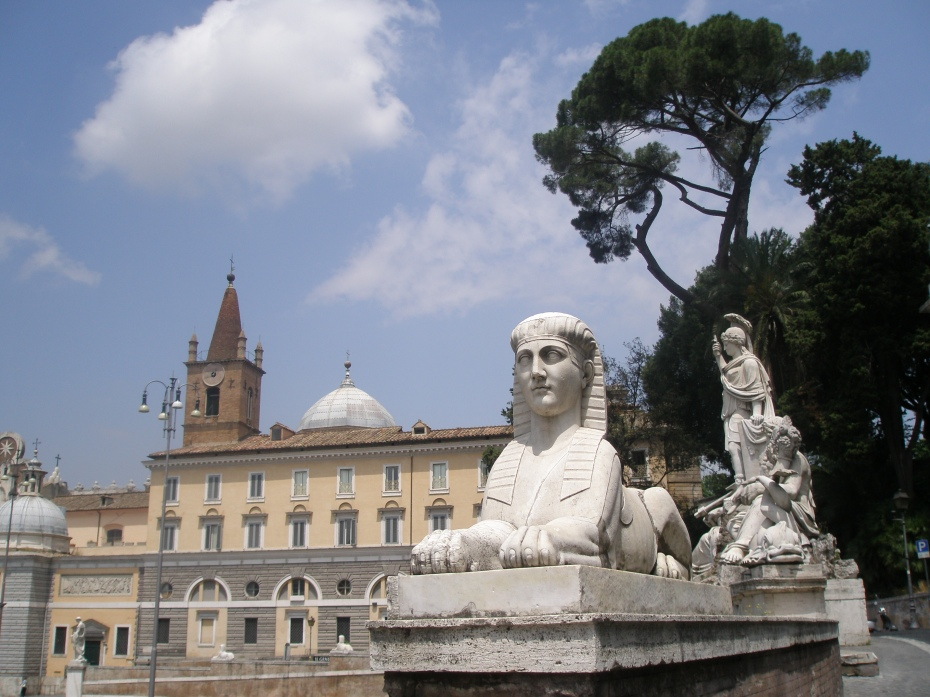 A sphinx guards the winding road that leads from the Pincian Hill and the gardens of Villa Borghese down to Piazza del Popolo.