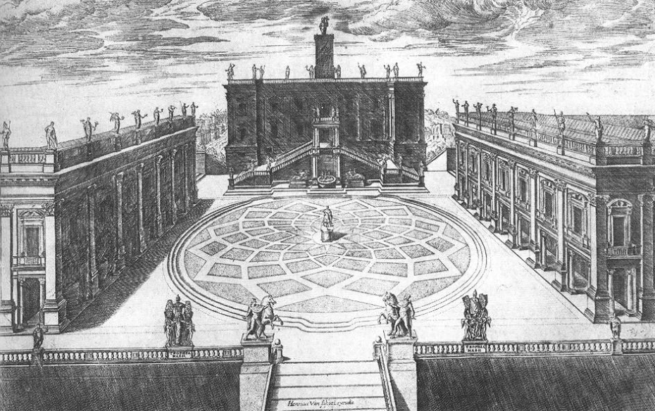 Michelangeo's Piazza del Campidolgio, engraved by Etienne Duperac, in 1568.