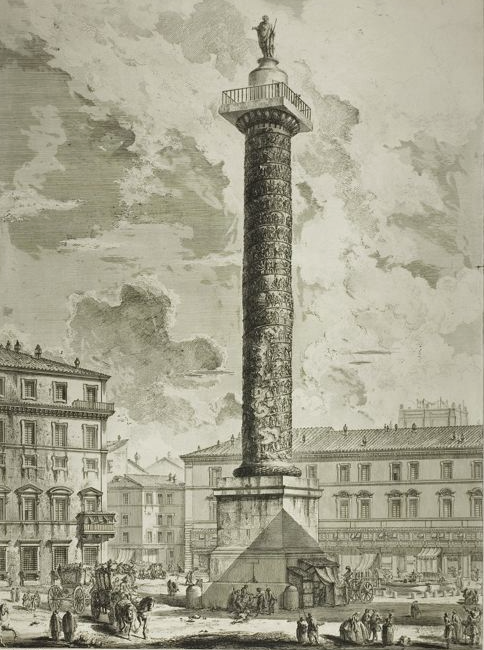 The Column of Marcus Aurelius, from Views of Rome (circa 1750--1759). By Giovanni Batista Piranesi.