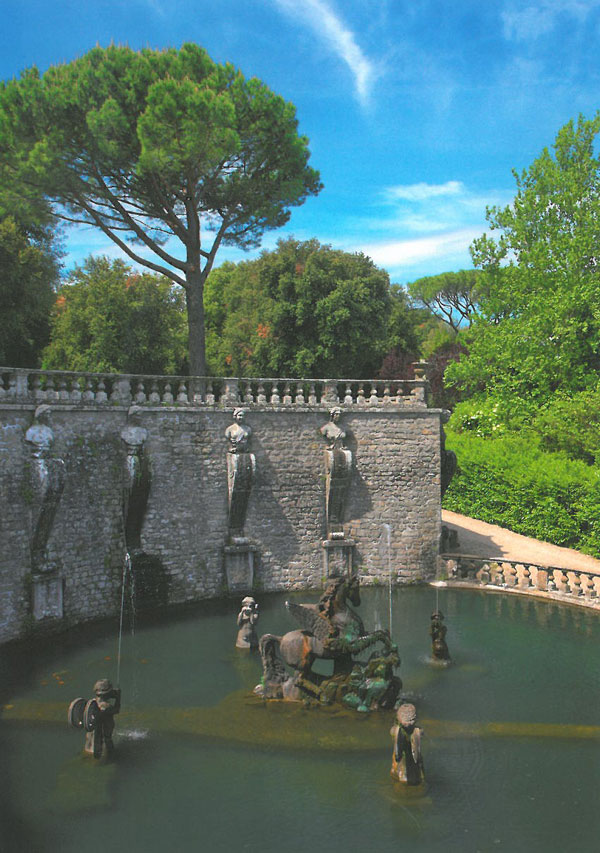 The Pegasus Fountain. The gardens of Villa Lante, in Bagnaia, Italy were begun in 1566. Image courtesy of Il Pegaso Bookshop, in Bagnaia.