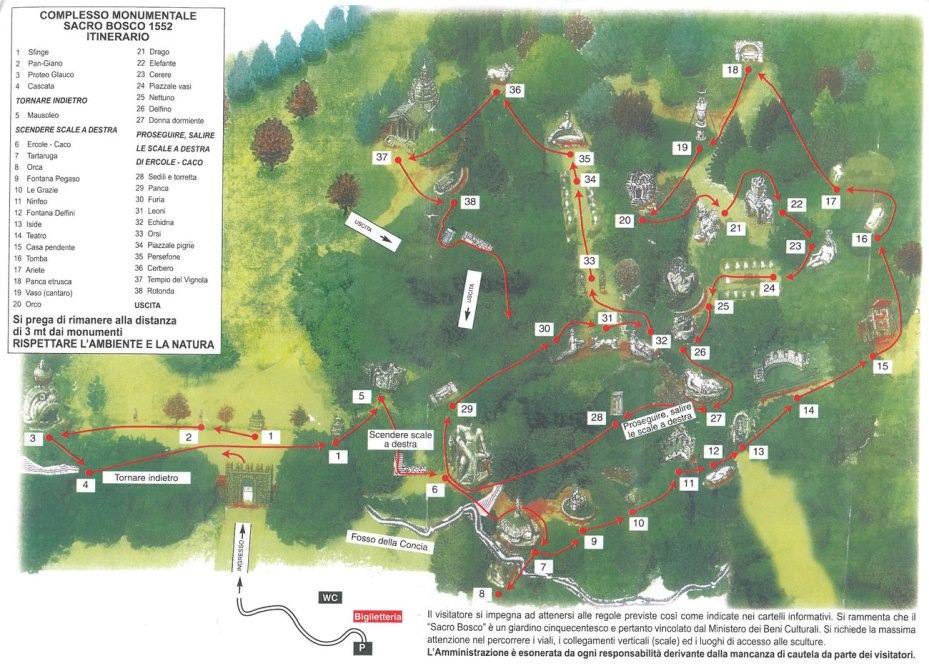MAP of the Statues at Sacro Bosco....NOT drawn to scale.